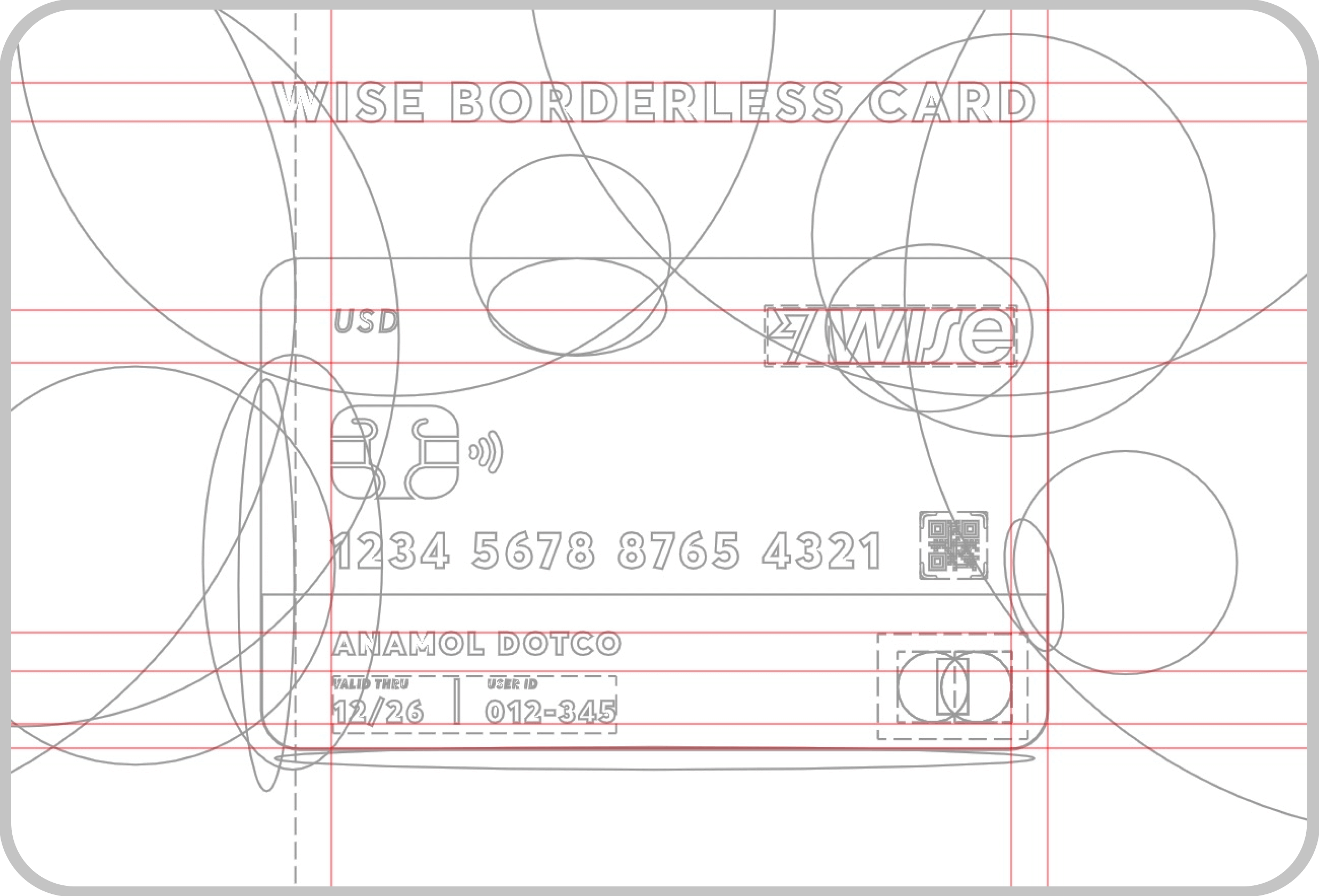 wise borderless card concept - wireframe outline